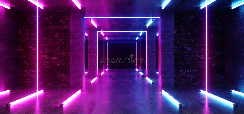 Concrete Grunge-van de Tunnel Donkere Hall Reflective Neon Glowing Sci van de Baksteengang de Weg Purpere Blauwe Trillend van FI  royalty-vrije illustratie