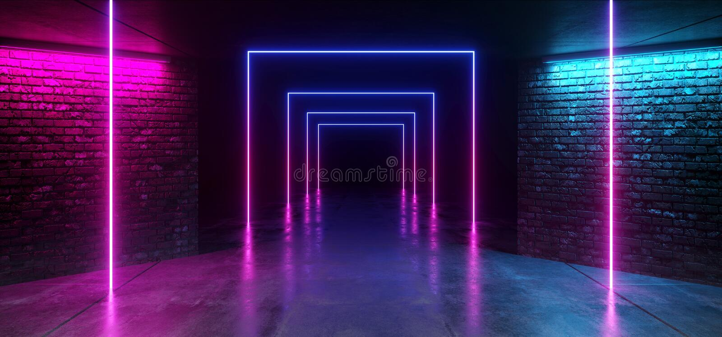 Concrete Grunge-van de Tunnel Donkere Hall Reflective Neon Glowing Sci van de Baksteengang de Weg Purpere Blauwe Trillend van FI  vector illustratie