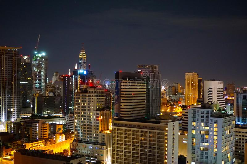 Concrete High Rise Building during Night Time royalty free stock photos