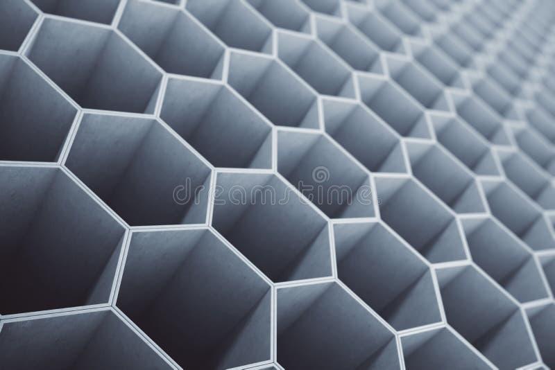 Concrete honingraat, hexagon patroonachtergrond of behang het 3d teruggeven vector illustratie