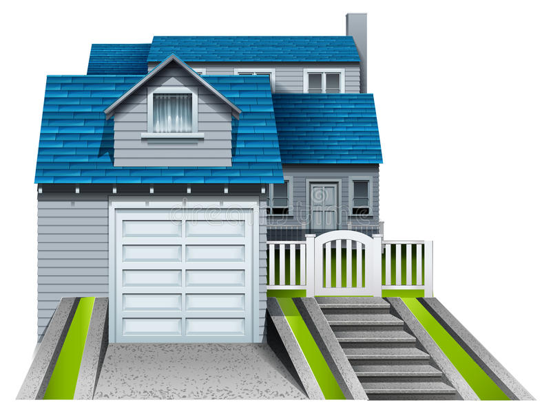 A concrete house with an attached garage. On a white background stock illustration