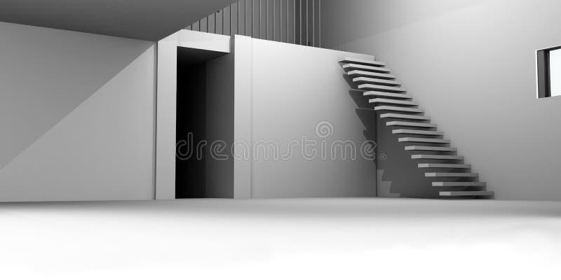 Concrete House Interior royalty free illustration