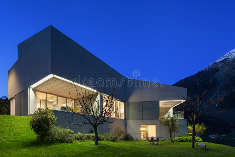 Concrete house, night scene stock photo