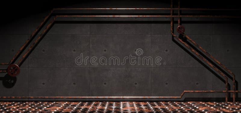 Concrete Industriële Zaal met Geroest Metaalnet Mesh Floor And Pipes stock illustratie