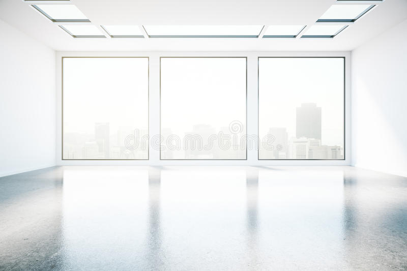 Concrete interior with city view front stock illustration