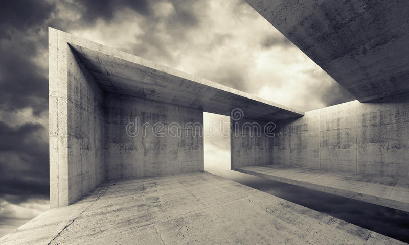 Concrete interior with dark moody sky, 3d. Abstract architecture background, empty concrete interior with dark moody sky outside, monochrome 3d illustration vector illustration