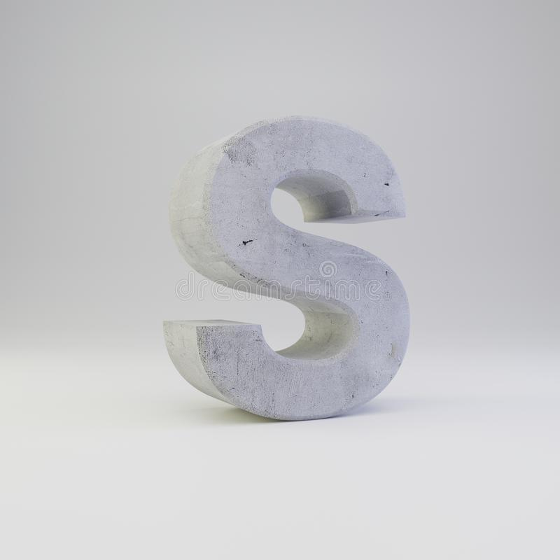 Concrete letter S uppercase with plaster texture isolated on white background royalty free stock images