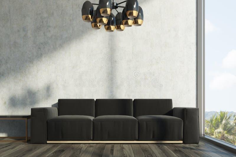 Concrete living room, black sofa stock illustration