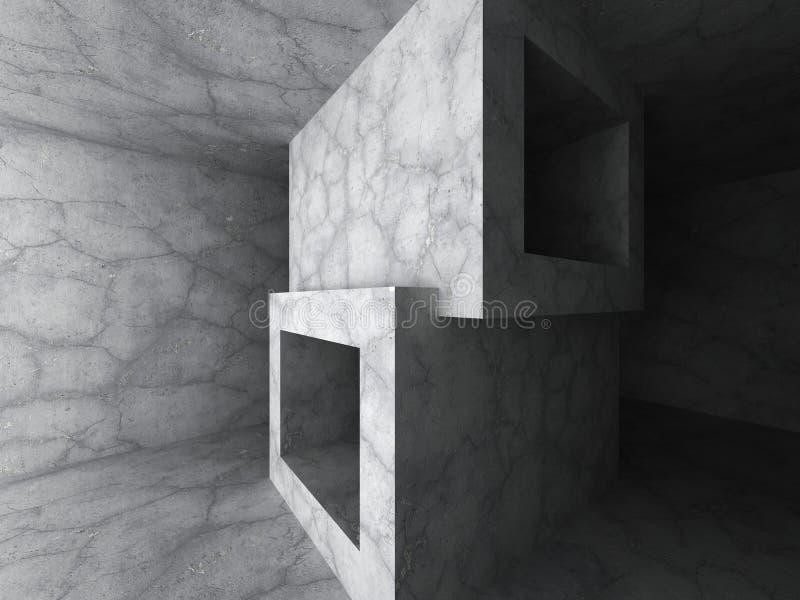 Concrete minimalictic architecture background. Empty dark room i. Nterior. 3d render illustration vector illustration