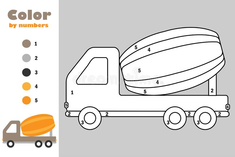 Concrete mixer in cartoon style, color by number, education paper game for the development of children, coloring page, kids stock illustration
