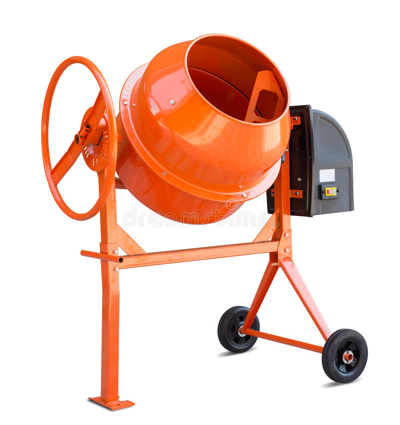 Concrete mixer isolated with clipping path. Concrete mixer isolated on white with clipping path included stock image