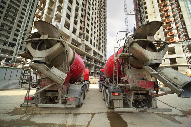 Download Concrete Mixer Stand Near Unfinished Building Stock Image - Image: 20004311