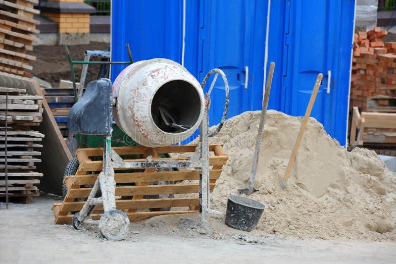 Concrete mixer tool. On building construction site stock images