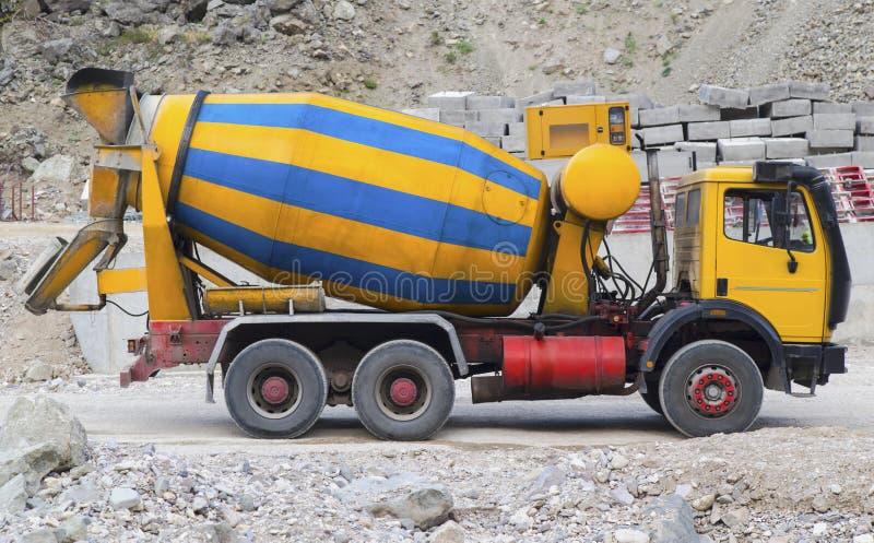 Concrete mixer truck on construction site stock images