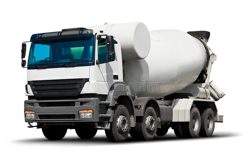 Concrete mixer truck. Creative abstract building and construction industry, shipping logistics transportation, roadworks and cargo freight transport industrial royalty free stock photos