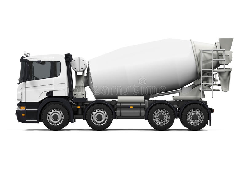 Concrete Mixer Truck. Isolated on white background. 3D render royalty free stock photos