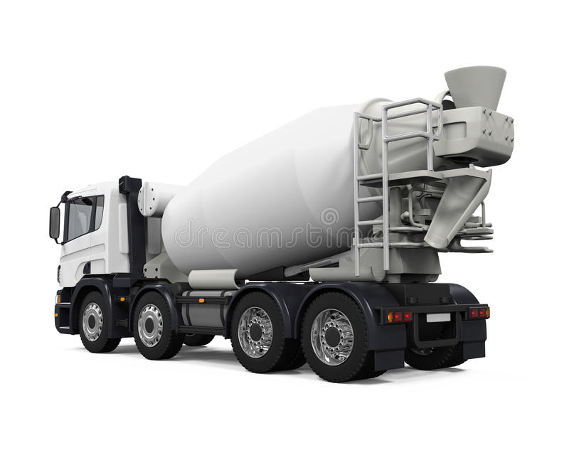 Concrete Mixer Truck. Isolated on white background. 3D render stock photo