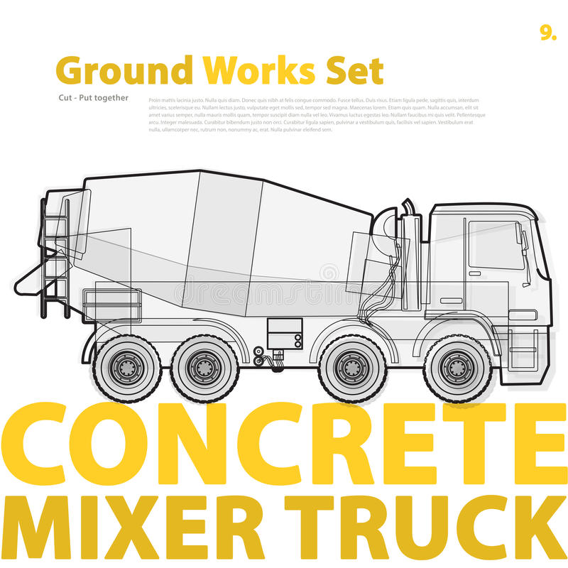 Concrete mixer truck. Typography set with auto-mix. Construction machinery vehicle. vector illustration