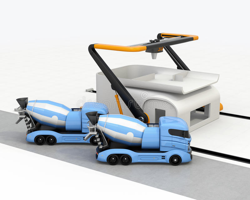 Concrete mixer trucks in the side of industrial 3D printer which printing house. 3D rendering image stock illustration