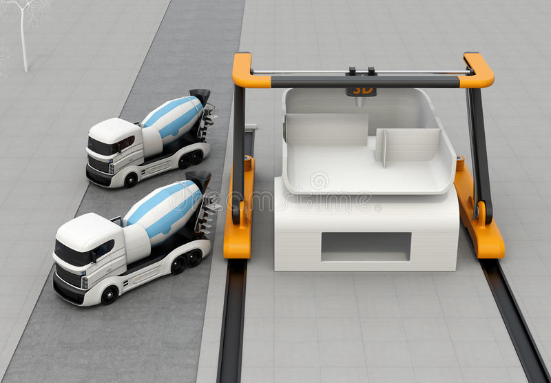 Concrete mixer trucks in the side of industrial 3D printer which printing house. 3D rendering image royalty free illustration