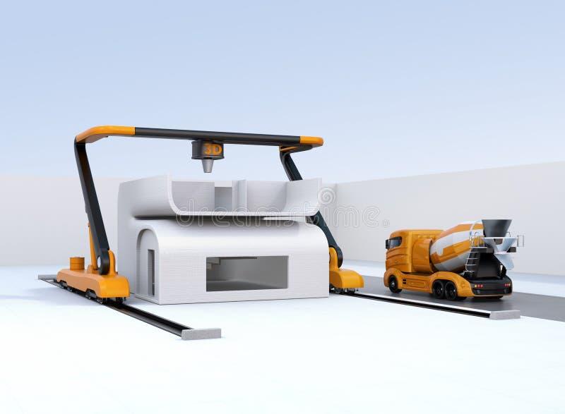 Concrete mixervrachtwagen in de kant van industriële 3D printer die drukhuis stock illustratie