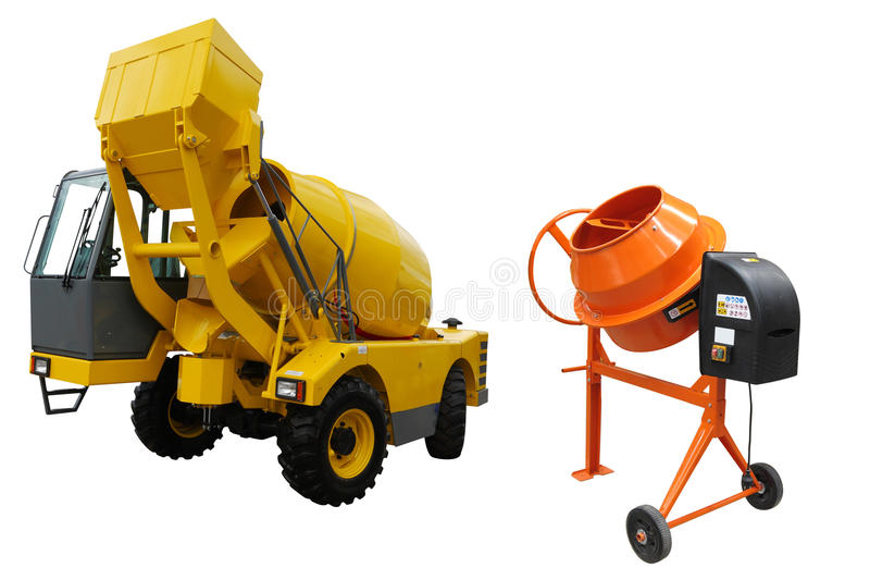 Concrete mixing machines stock photos