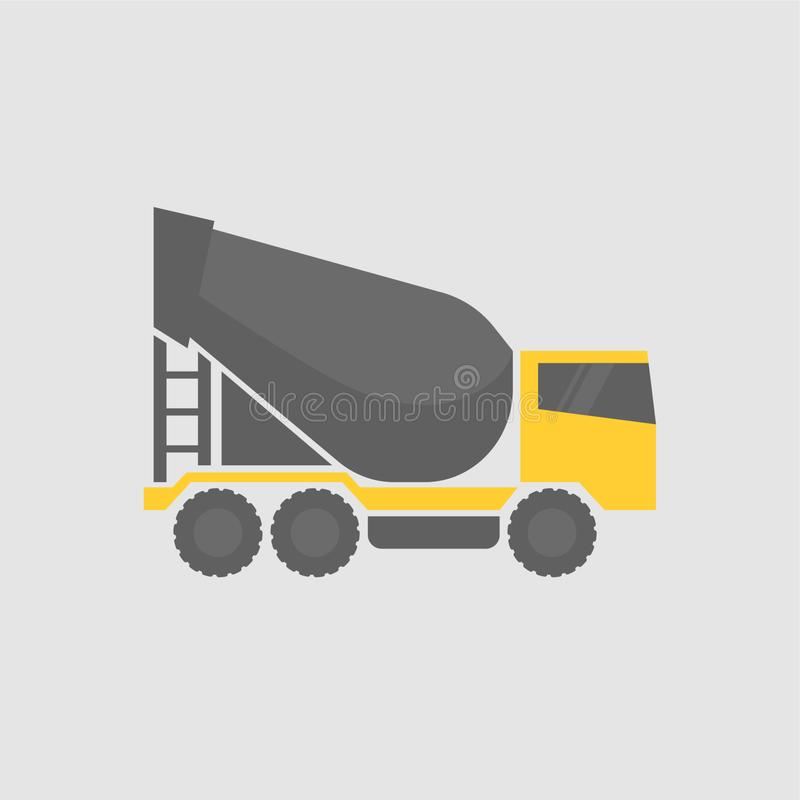 Concrete mixing truck. Flat design. Industrial transport royalty free stock photography