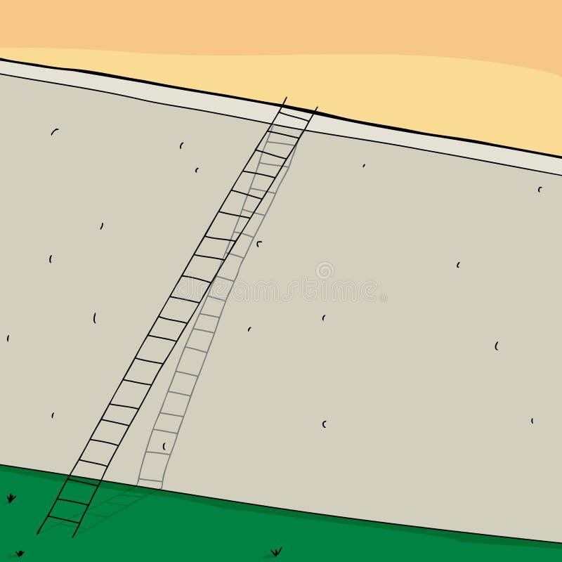 Concrete muur en ladder stock illustratie