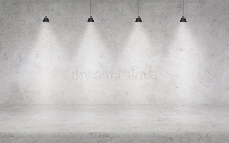 Concrete muur met lichten royalty-vrije stock afbeelding