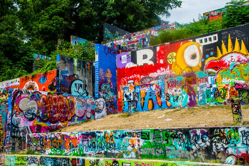 Concrete Outdoor Painting Austin Graffiti wall Collage. Austin Texas Graffiti Wall Longhorn Blue Bear Abstract Art. Hope outdoor art gallery but the locals call royalty free stock photos