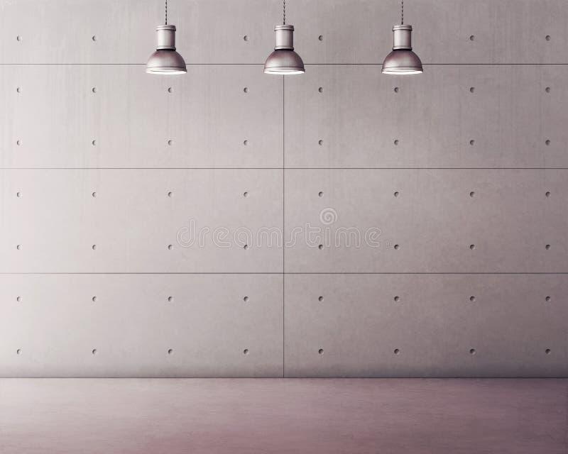 Concrete panelen en vloer met lampen vector illustratie