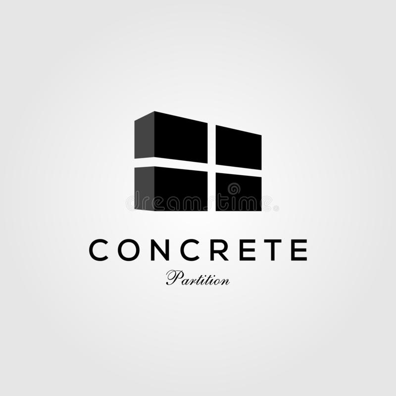 Concrete partition exposed wall panel logo vector icon illustration vector illustration