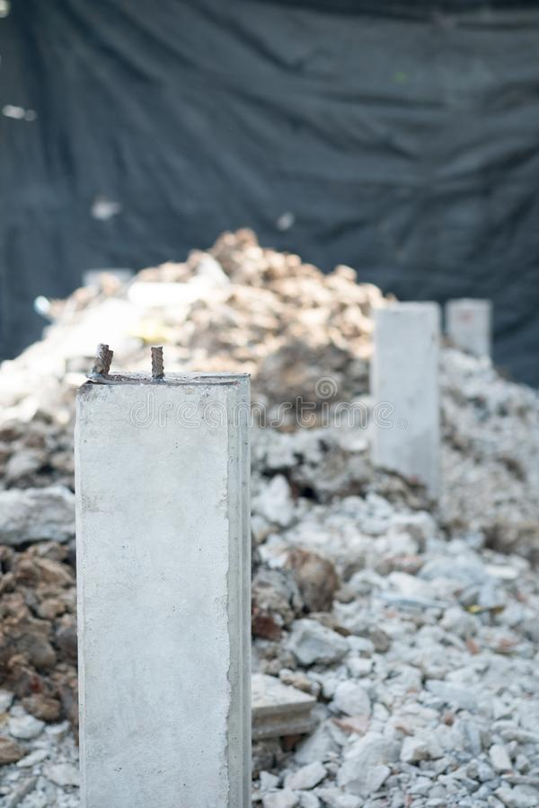 Concrete piles foundation under ground for a new building stock image