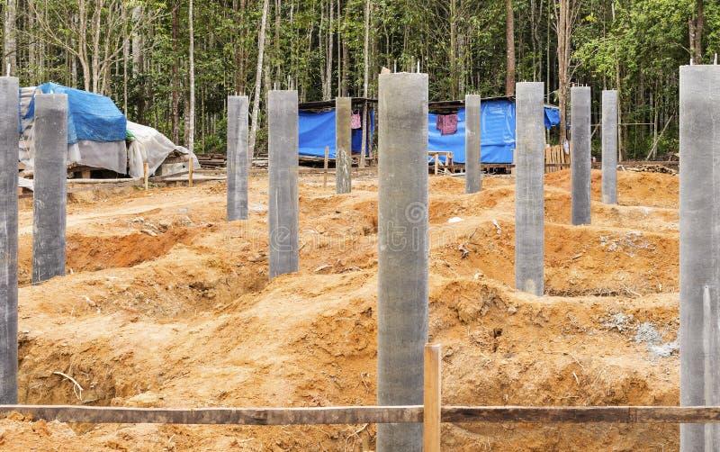 Building A House On Pillars : Concrete pillar foundation stock image of building
