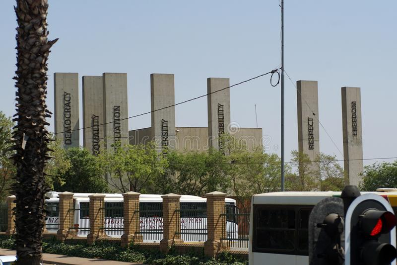 Front facade of the Apartheid Museum in Johannesburg. Concrete pillars on the front facade of the Apartheid Museum in Johannesburg, South Africa stock image
