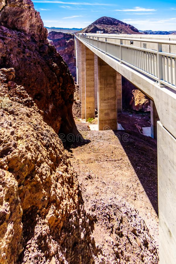 The concrete pillars of the Mike O` Callaghan-Pat Tillman Memorial Bridge royalty free stock image