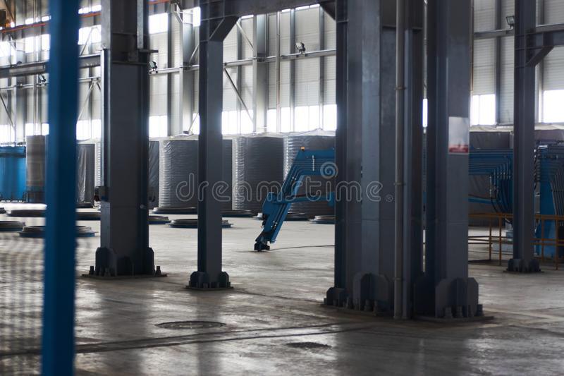 Concrete pipe factory warehouse. Industry manufacturing concept stock photo