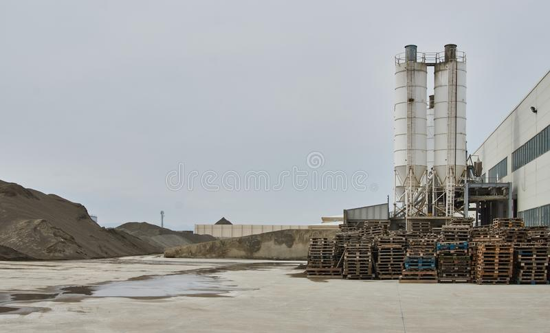 Concrete pipeline factory. Industry concept. Concrete pipeline factory warehouse. Industry manufacturing concept royalty free stock image