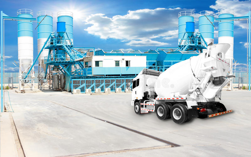 Concrete plant and A Cement Delivery Lorry royalty free stock images