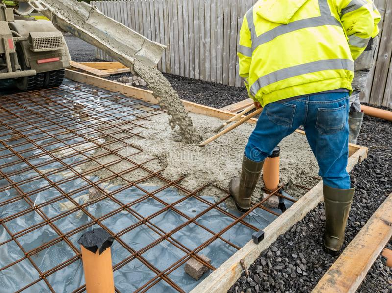 Concrete pouring for the basement of a building- concrete slab royalty free stock photos