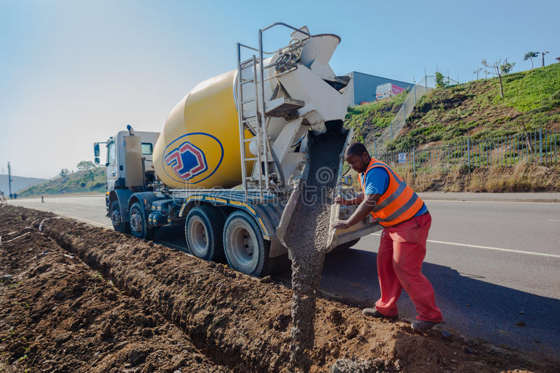 Concrete Pouring Operator Roads stock image