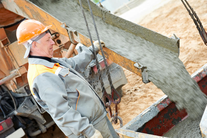 Download Concrete pouring work stock photo. Image of workwear - 19483284