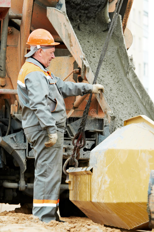 Download Concrete pouring work stock photo. Image of laborer, mixer - 19483336