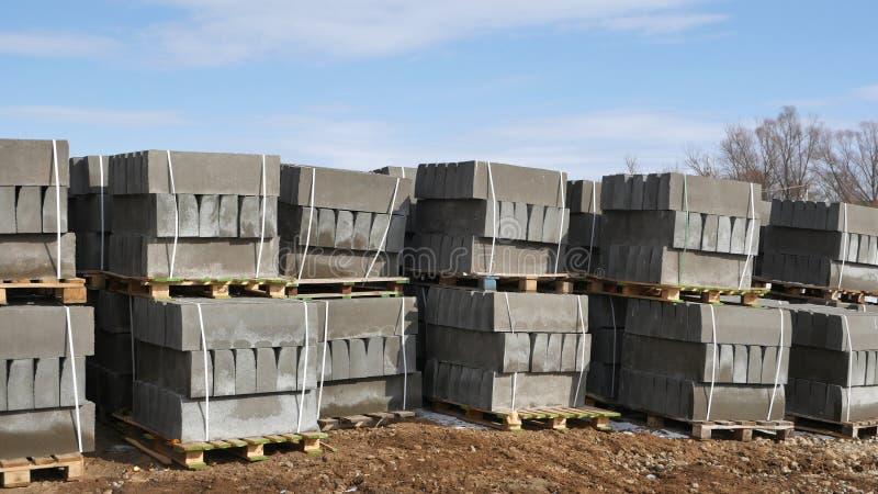 Concrete products, curbs. Warehouse. Concrete products, curbs. The warehouse concrete royalty free stock photography