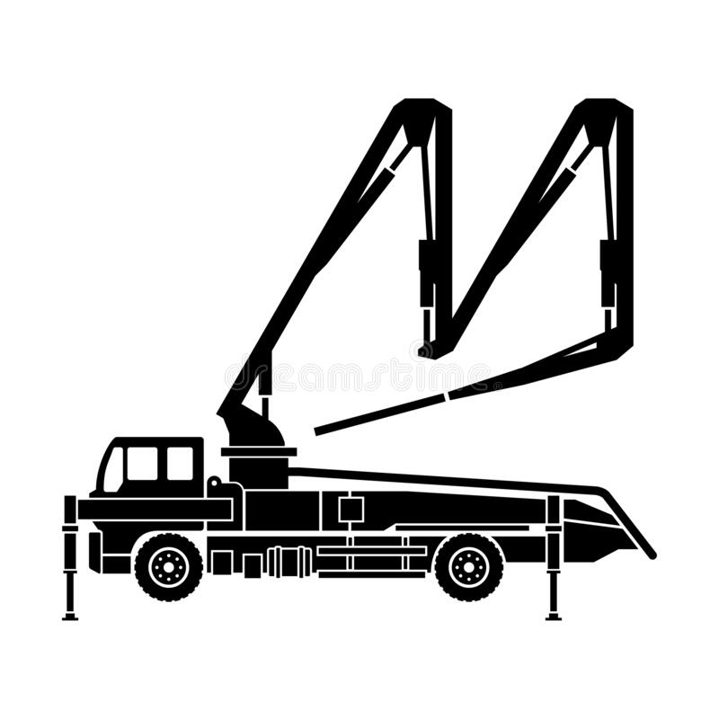 Free Concrete Pump Truck Silhouette Boom Pump Royalty Free Stock Photography - 195576137