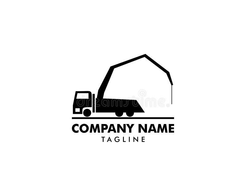 Concrete pump truck silhouettes logo icon stock illustration
