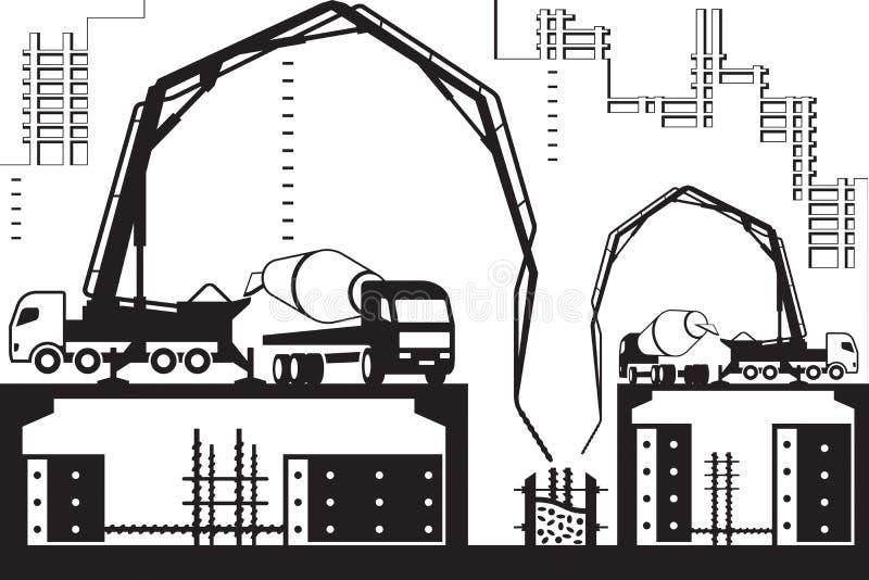 Concrete pump trucks on construction site royalty free illustration