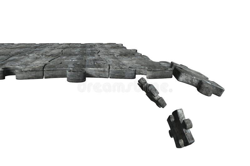 Concrete raadselsgrond met sommige stukken die, het 3D teruggeven vallen stock fotografie