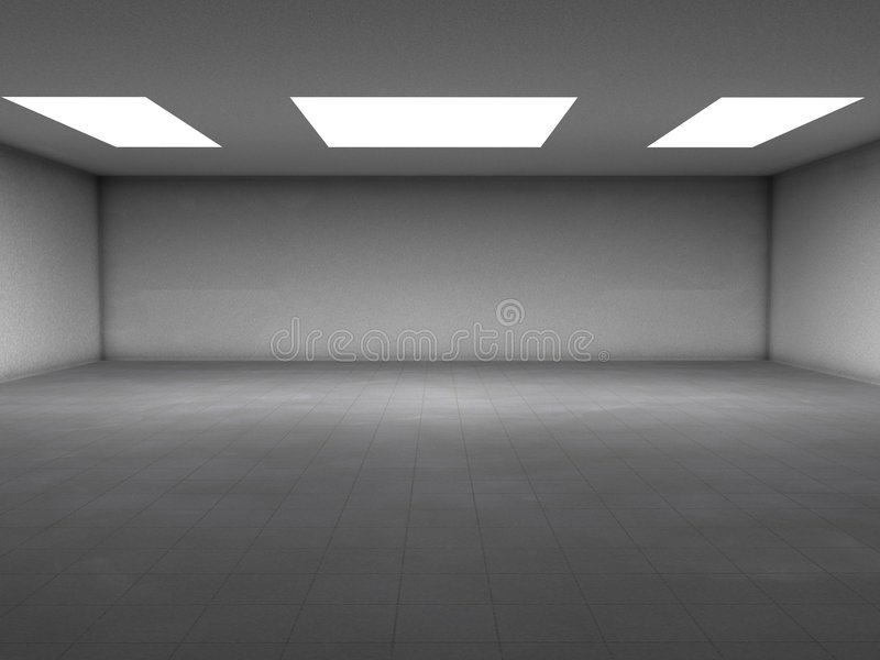 Concrete room. An emty room with white ceiling lights and simple concrete floor. You can place your objects here royalty free illustration