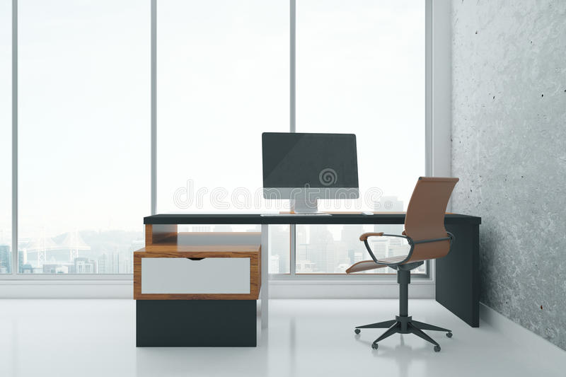 Concrete room with computer. Modern concrete interior with panoramic city view and desk with empty computer monitor. Mock up, 3D Rendering stock illustration